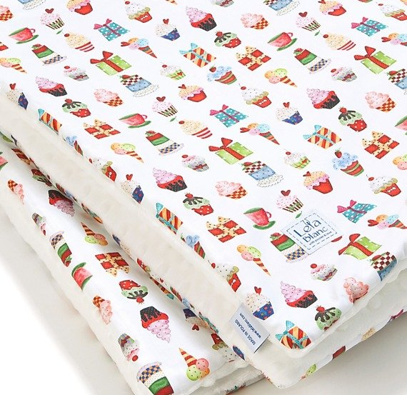 "KOCYK ""L"" 140*110CM, SWEETIES /WHITE/"